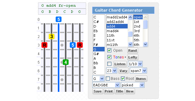 Gootar Guitar Chords Generator Finder with Sound, 86 million chords ...