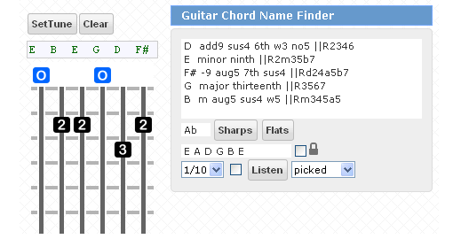Reverse Guitar Chord Name Finder With Sound, Vertical Fretboard