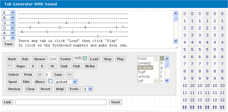 Tab Generator With Sound Horizontal Fretboard