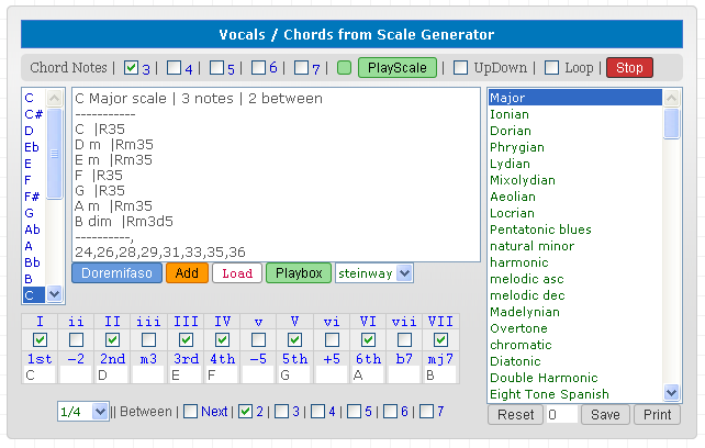 Vocalist / Singing Trainer / Chords from Guitar Scales Generator