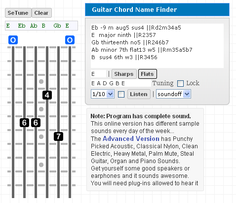 Guitar guitar chords advanced : Lefty Gootar Guitar Chord Generator and Scale Finder Programs ...
